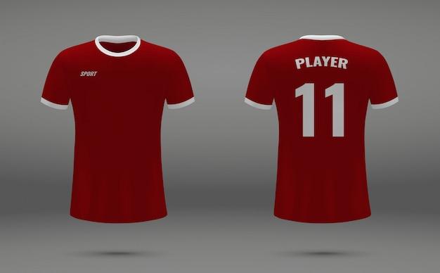 Realistisches fußballtrikot, t-shirt von liverpool