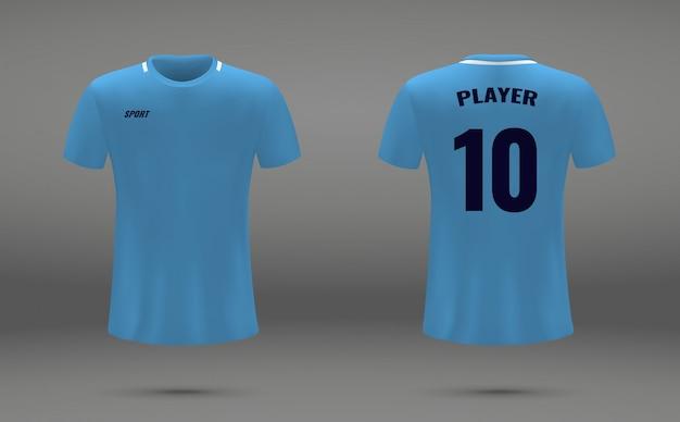 Realistisches fußballtrikot, t-shirt von manchester city