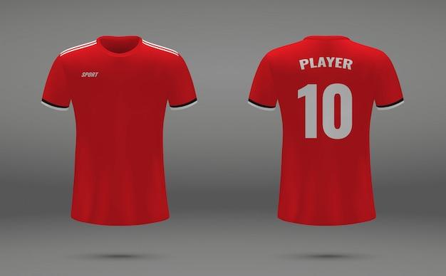 Realistisches fußballtrikot, t-shirt von manchester united