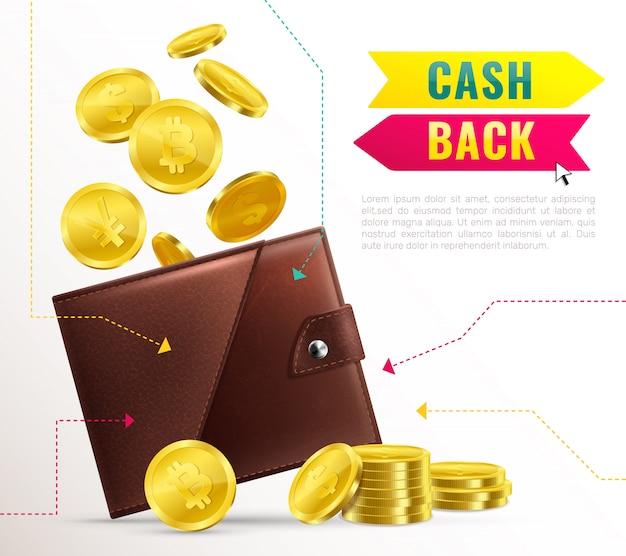 Realistisches geldbörsen-plakat