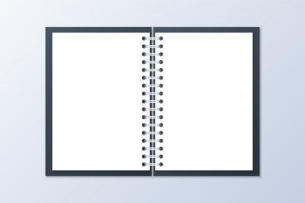 Realistisches geöffnetes notizbuch