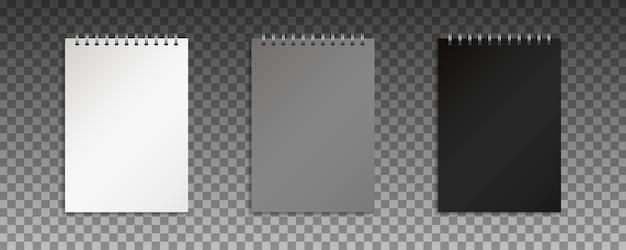 Realistisches geschlossenes notizbuch. leeres heft mit metallischer silberspirale.