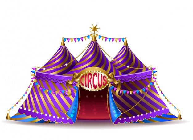 Realistisches gestreiftes zirkuszelt 3d mit flaggen und belichtetem schild für leistungen
