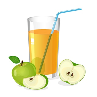 Realistisches glas apfelsaftgetränk mit cocktailstroh. saft mit apfelhälfte und scheibe isoliert auf weiß. frisches erfrischungsgetränk. natürliche süße portion vitamine. illustration