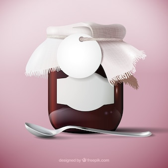 Realistisches glas marmelade mit löffel und etikett