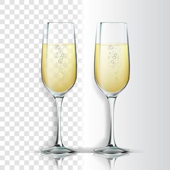 Realistisches glas mit funkelndem champagner