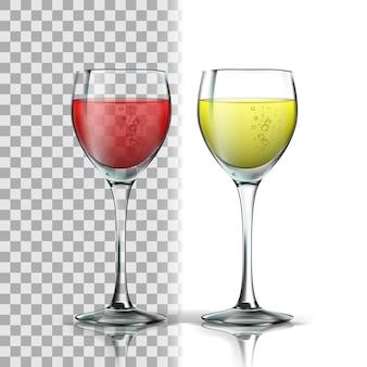 Realistisches glas mit rotem und weißem wein