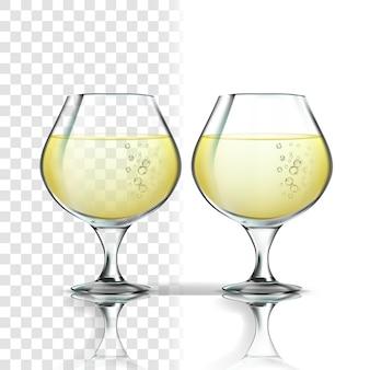 Realistisches glas mit weißweinriesling
