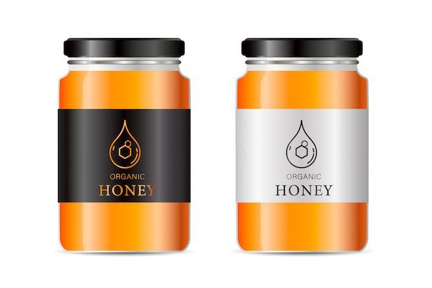 Realistisches glas. nahrungsmittelbank. sause verpackung. glas mit design-label oder abzeichen.
