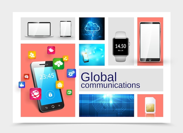 Realistisches globales kommunikationskonzept mit telefon-laptop-tablet smartwatch-sim-karte digitaler cloud-speicher mikrochip textur mobile anwendungen symbole illustration,