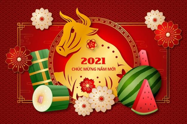 Realistisches glückliches vietnamesisches neues jahr 2021