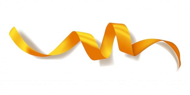Realistisches goldenes band mit schatten lokalisiert auf weiß. dekoration für geschenkboxen, gestaltungselement