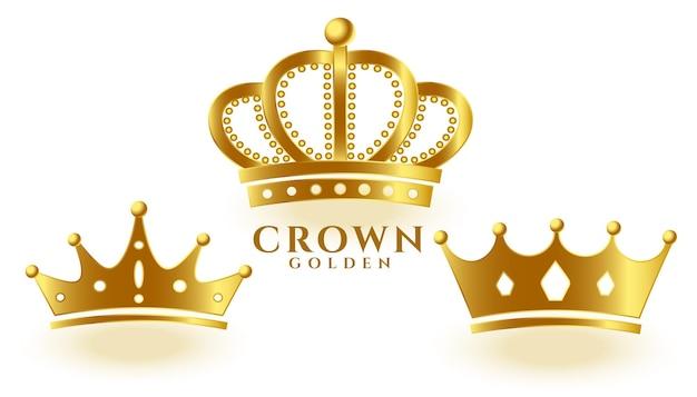 Realistisches goldenes kronenset für könig oder königin