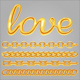 Realistisches goldschmuckkettenset und liebesbeschriftung
