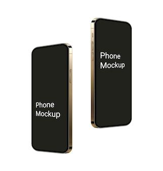 Realistisches goldtelefonmodell, das 3d-mobilgerätszene mit leerem bildschirm hochfliegt modell 12 smartphones