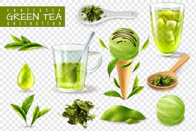 Realistisches grünes tee-set mit isolierten bildern von tassenlöffeln und natürlicher blattvektorillustration