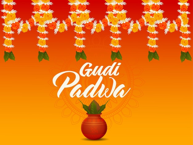 Realistisches gudi padwa illustrationskonzept