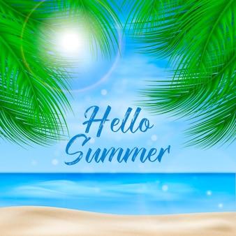 Realistisches hallo-sommer-konzept