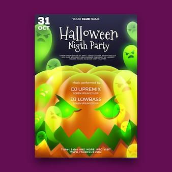 Realistisches halloween-partyplakat mit kürbis