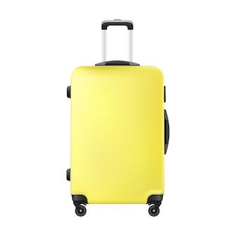 Realistisches handgepäck des gelben reiseplastikkoffers