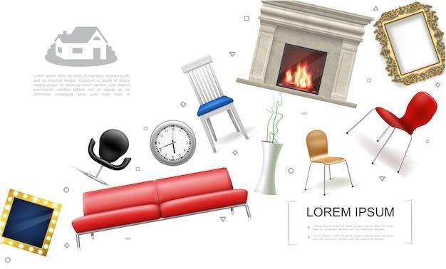 Realistisches hausinnenelementkonzept mit sofakaminstühlen pflanzen in der vasenuhr dekorative bild- und fotorahmenillustration,