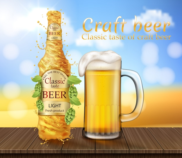 Realistisches helles bier spritzend, wirbelnd. promotion banner mit bierglas