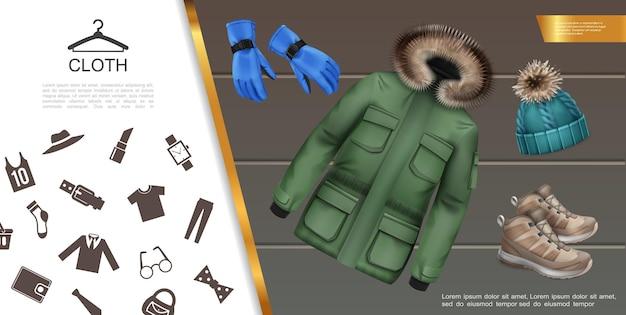 Realistisches herrenbekleidungskonzept mit jacken-turnschuhen, gestrickten huthandschuhen, männlichem kleidungsstück und accessoires-symbolen