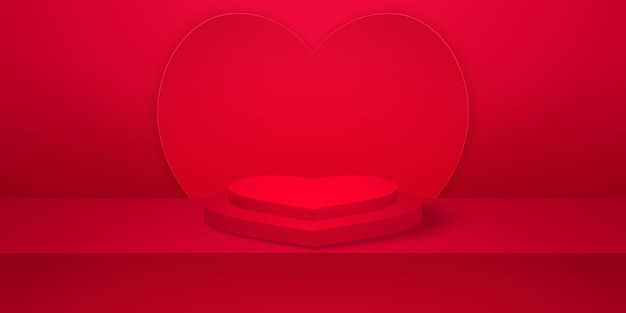 Realistisches herzformpodium mit rotem leerem studioraumherzhintergrund für valentinstag