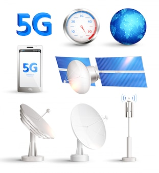 Realistisches hochgeschwindigkeits-internet-set mit satelliten und smartphone mit titel 5g isoliert