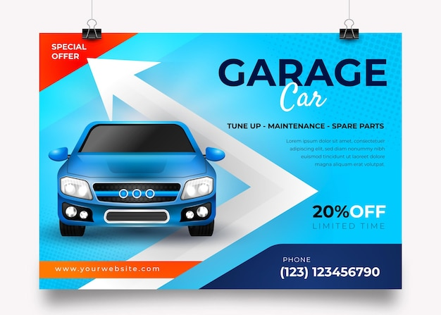 Realistisches horizontales autoplakat mit foto