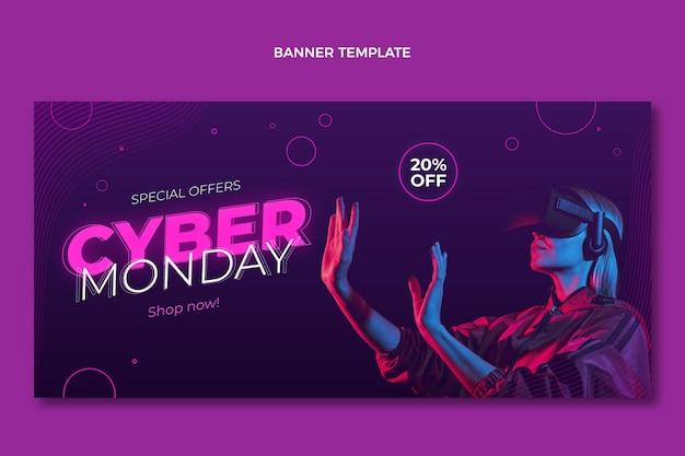 Realistisches horizontales banner des cyber-montag-verkaufs