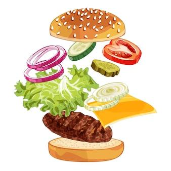 Realistisches illustrationsmuster des springenden burgers, köstlicher explodierter hamburger mit zutaten salat, zwiebel, pastetchen, tomate, käse, brötchen lokalisiert auf weißem hintergrund