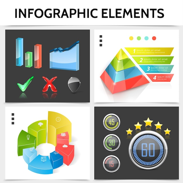 Realistisches infografikquadratkonzept mit pyramidengeschäftssymbolen diagramme balkeninformationsindikatoren häkchengraphen illustration