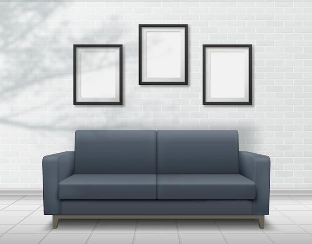 Realistisches innensofa auf backsteinmauerhintergrund mit fotorahmen. fallende schatten überlagern von pflanzen. leere fotorahmen-vorlagen für ihr design.