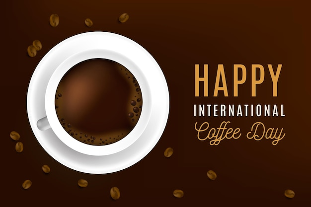 Realistisches internationales tag des kaffeekonzepts