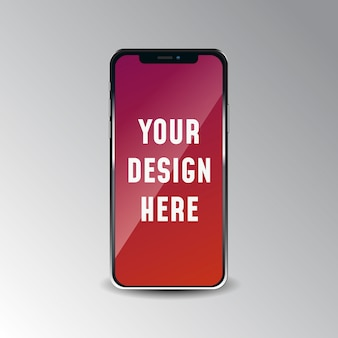 Realistisches iphone x-modell oben auf weißem hintergrund.
