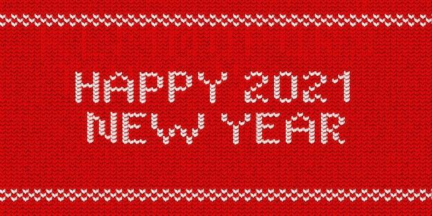 Realistisches isoliertes gestricktes typografie-logo von happy 2021 new year für schablonendekoration und einladungsabdeckung auf dem roten pulloverhintergrund