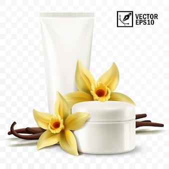 Realistisches isoliertes glas und röhre 3d mit kosmetischer creme, gelben vanilleblumen und stöcken