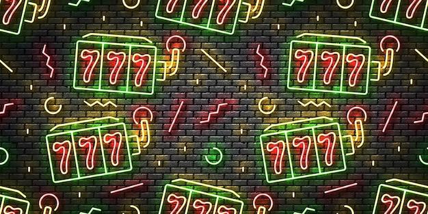 Realistisches isoliertes neonzeichen des nahtlosen musters der spielautomaten auf einem wandhintergrund.