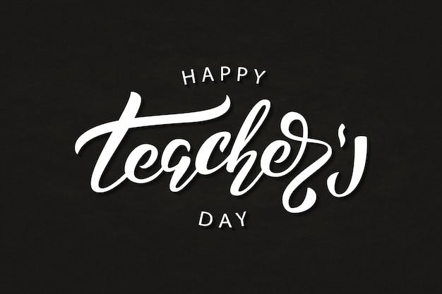 Realistisches isoliertes typografie-logo für happy teacher's day
