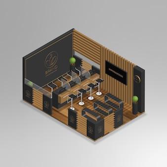 Realistisches isometrisches 3d-minibüro