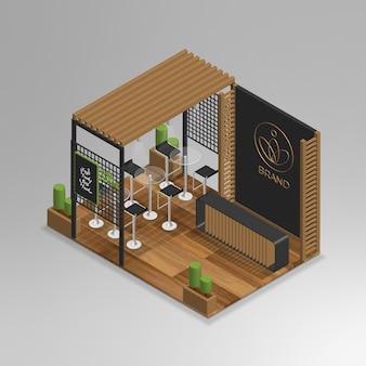 Realistisches isometrisches mini-café in 3d