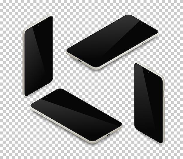 Realistisches isometrisches smartphone-set. 3d graues handy des metalls mit leerem schwarzen bildschirm und schattenoberansicht auf transparentem hintergrund. illustration für web, anwendung, modell, app-demo
