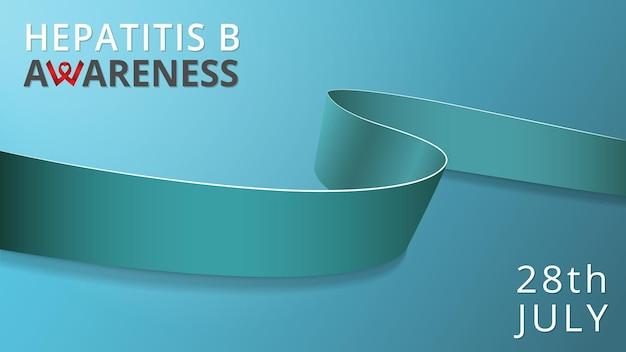 Realistisches jadeband. bewusstsein für hepatitis b-monatsplakat. vektor-illustration. solidaritätskonzept für den welthepatitis-b-tag. blauer hintergrund. symbol für lebenden krebs, hepatozelluläres karzinom.