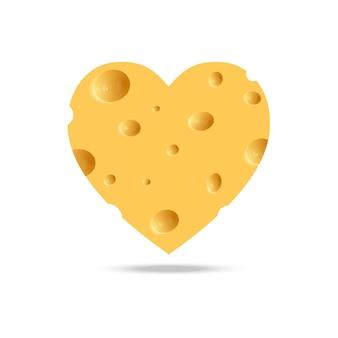 Realistisches käseherz auf weißem hintergrund.