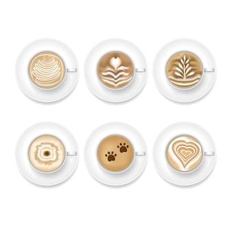 Realistisches kaffeekunstschaum-set. draufsicht