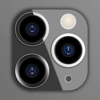 Realistisches kameraobjektiv auf smartphone