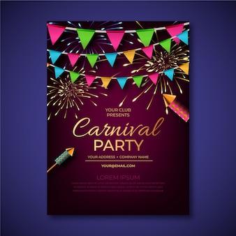 Realistisches karnevals-partyplakat
