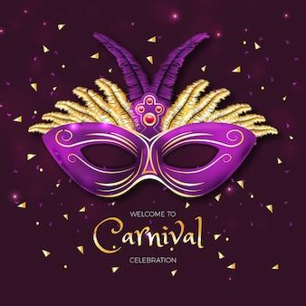 Realistisches karnevalskonzept mit maske