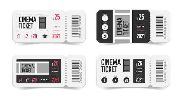 Realistisches kino mit leeren eintrittskarten mit isolierten bildern von gutscheinen mit gedrucktem barcode und sitznummer